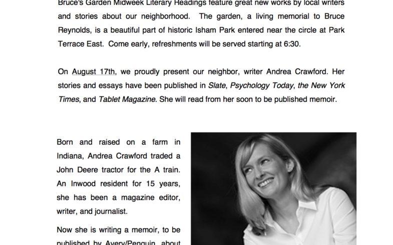 Midweek Literary Reading Series • August 17 @ 7:00pm