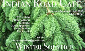 Winter Solstice Benefit for Bruce's Garden • Thursday December 1st @7:30 ~ 10pm • Indian Road Cafe