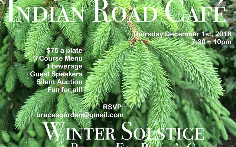 Winter Solstice Benefit for Bruce's Garden • Thursday December 1st @7:30 ~ 10pm • Indian Road Cafe