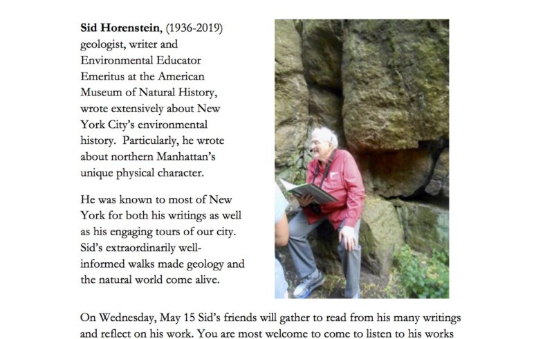 Mid-Week Reading Series • Readings in Memory of Sid Horenstein • Wednesday May 15th @6:30pm