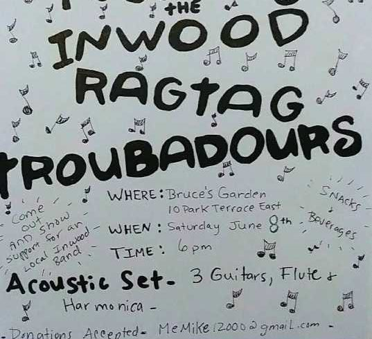 The Inwood Ragtag Troubadours • Acoustic Folk Rock • June 8 @ 6:00 pm